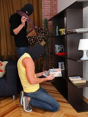 Veronika Has No Trouble Pleasing A Couple Of Horny Thieves Who Break Into Her Home