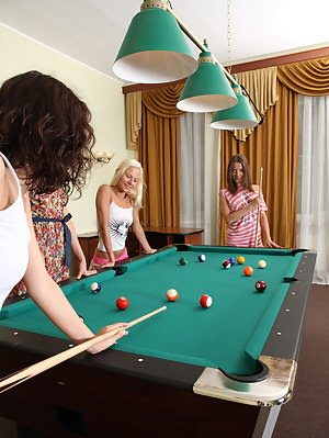 Awesome Photosession With Four Perfect Teen Lesbians Getting Sex Pleasure During 8ball Pool Game. Sex pics