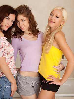 Three Naughty Teenage Babes Explore Their Sexuality And Lesbian Inclinations In A Bathroom.