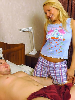 Incredibly Hot Blonde Teenie Pleasures Her Strong Lover Right In The Bedroom Now.