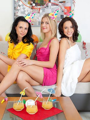 Three Teen Hotties Posing In Bright Outfits And Taking Them Off To Show Their Nude Bodies. Posing pics