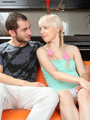 Blond Teenage Beauty With Small Tits And Neat Shaven Twat Gets Banged And Eats Fresh Cum. Tits pics