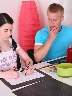 Enchanting Brunette Teen Honey With Two Pigtails In Hardcore Action With Her Art Teacher.