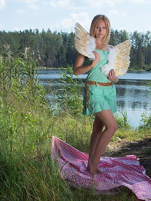 This Flawless Blonde Teen Starts Flapping Her Wings On The Lap Of Nature While She Is Showing Off He She pics