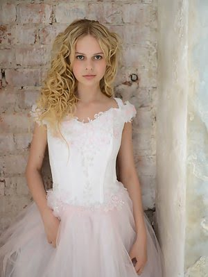 Stunning Blonde Teen Celebrates Her Early Marriage With Stripping Her Bride Clothes And Shows Some O Clothes pics