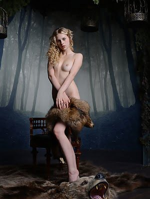 Petite Blonde Babe Showing Off Her Tight Teen Pussy On The Back Of Her Slain Bear, Because She Loves Blonde pics