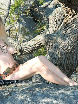 Soft Skin, Sunbathed Hot Cliff, A Beautiful Naked Blonde. Adorable Girl Showing Her Astonishing Deli