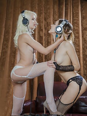 Fantastic Blonde And Brunette Teen Lesbian Couple Has Great Time While Listening Their Favorite Song