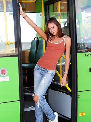 Gorgeous Dark Haired Teen Chick Undressing And Showing Her Lovely Slim Body In The Bus. Body pics