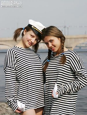 Charming Bold Angels Wear Sailors Striped Vests And Posing Without Panties Near The Bridge. Posing pics
