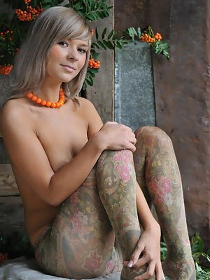 Smiling Babe With Big All Natural Tits Poses In Fancy Pantyhose Then Strips Them Off.