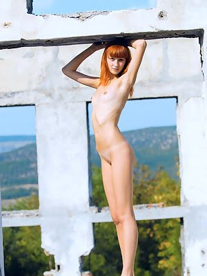 Slim Teen Redhead Poses Outdoors Showing Off Her Nude Body With Tiny Tits And Shaven Pussy.