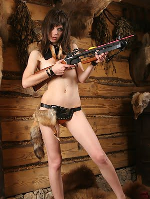 Naughty Teen Girl With Delicious Parts Dreams Of Becoming A Good Hunter In The Future And Shows Her Shows pics