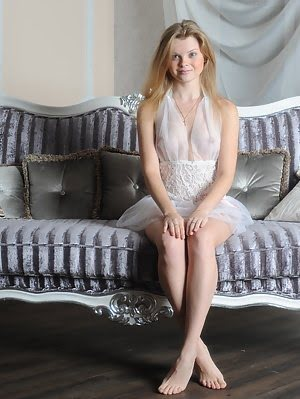 Innocent Teenie In Tempting White Peignoir Showing Her Wet Pussy And Tight Ass On Sofa. Ass pics