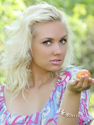 Perfect Blonde Teen Girl With A Basket Of Peaches Taking Off Clothes And Spreading Outdoors. Perfect pics