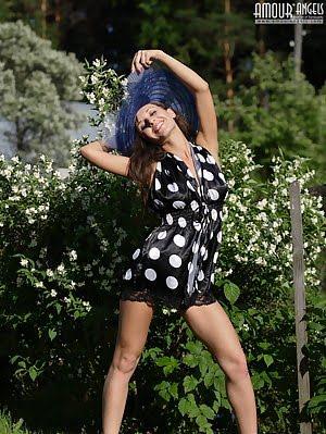 Astonishing Indescribable Angel Has Taken Off Her Big Bonnet And Polka Dot Black Dress To Pet Her Pu Dress pics