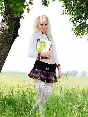 Pretty White Skinned Blonde Teen In White Stockings And Plaid Skirt Getting Naked Outside. Blonde pics