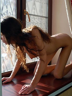 Hot Long-haired Brunette Caresses Her Juicy Tits And Extremely Wet Pussy On Brown Windowsill. Caresses pics