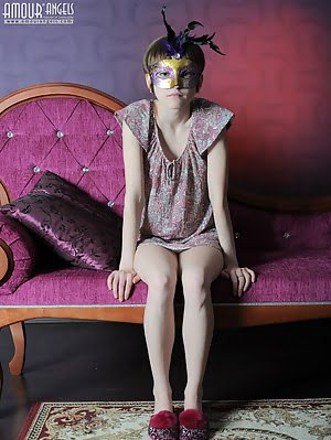 Artistic Images Of A Lovely Teenie Wearing A Carnival Mask And Letting You See Her Pussy. Lovely pics