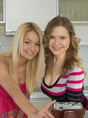 Amazing Blondes Get Down And Dirty In The Kitchen As They Play Around With Their Seductive Toys Of S They pics