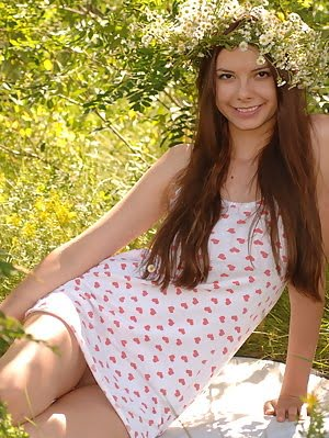 Adorable Teen With A Wreath In Excellent Long Hair Undressing And Showing Body In The Woods. Long pics