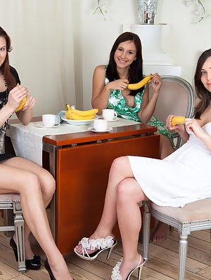 Three Yummy Babes Showing Their Love For Bananas And Presenting Their Gorgeous Nude Bodies. Showing pics