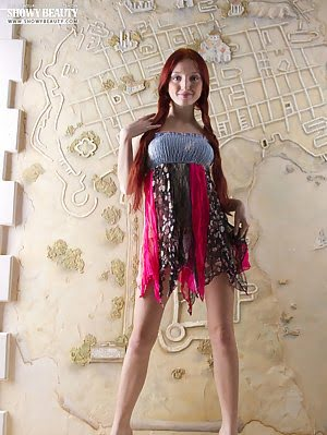 Stunning Redhead With Perfect Big Tits And Slim Body Strips Down And Shows Off Everything. Big pics