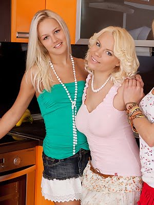 Three Adorable Blonde Lesbian Girls Taking Off Clothes And Spreading Legs In The Kitchen.