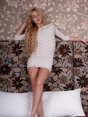 Delightful Long Haired Chick Taking Off Enticing White Dress And Posing In The Nude On The Bed. Dress pics