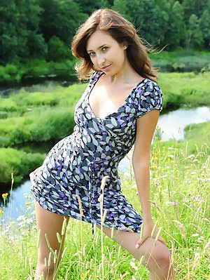 Modern Girl In Pure Nature With A Slight Touch Of Retro Outlook. She Knows That The Dress Is Actuall Nature pics