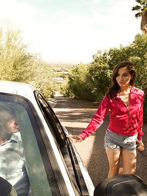 Cute Coed Kasey Warner Shows Her Appreciation For The Ride With An Enthusiastic Blowjob And A Backse Ride pics