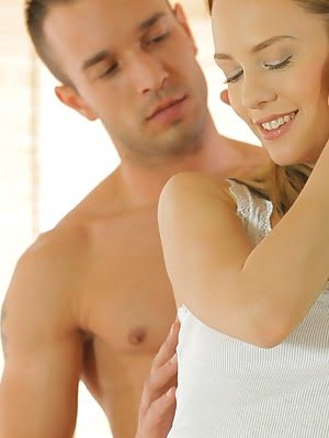 Sweet Blue Angel Fulfills Her Desires When A Tender Caress From Her Lover Turns Into A Steamy Mornin Caress pics
