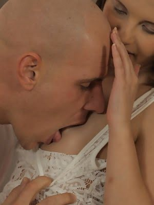 Cock Craving Spinner Krissie Gives Her Man A Wild Bald Pussy Ride In The Kitchen In This Raunchy Har Fuck pics