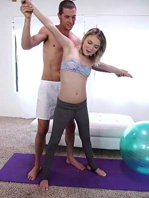 Saucy Spinner Dakota Skye Gets Her Bald Pussy Fucked Hard On An Exercise Ball Then Heads To Bed For